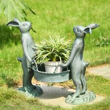 Bunny Gardeners Pot Holder Planter Metal Garden Pool Spring Sculpture,15.5''H.