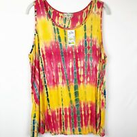 Live and Let Live Women's knit sleeveless top Size 1X Tie Dye yellow/pink NEW
