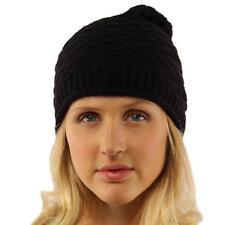 Winter Zig Zag Stretch Knit Slouch Long Roll Beanie Skully Ski Hat Cap Black