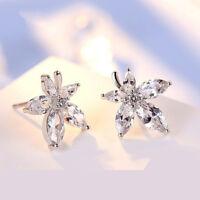 Flower Shape Crystal Simple Sweet Temperament earrings Jewelry for Women JA