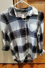 *NWT*Girls Justice Size 18+ white/black Flannel Long Sleeve Button Up Shirt