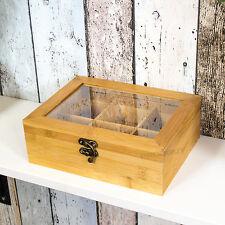 6 Compartment Bamboo Wooden Tea Bag Box Caddy Storage Chest Shabby Chic Teabags
