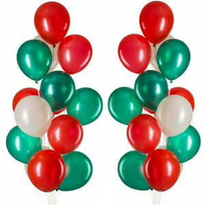 100pcs Merry Christmas Latex Balloons Green & Red & White Xmas Year Decoration