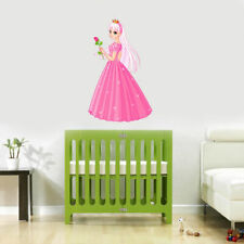 Full Color Wall Vinyl Sticker Decals Pink Princess Flower Rose (Col737)