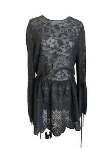 Robert Rodriguez Black Silk Lace Long Sleeve Dress Size Small