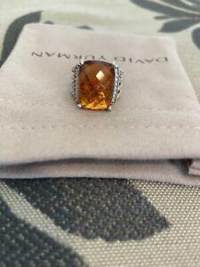 David Yurman Wheaton Ring With  Citrine And Diamonds 16x12mm Size 5