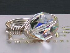 12mm chiaro AB cosmica Crystal Wrap Anello MADE WITH SWAROVSKI CRYSTAL ELEMENTS