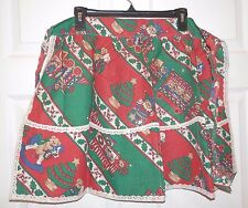 Vintage Christmas Vintage 1/2 Apron Teddy Bears Candy Canes large pocket Cotton