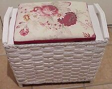 VINTAGE MID CENTURY CHIC PAINTED WHITE WOODEN WICKER VANITY HAMPER BENCH STOOL