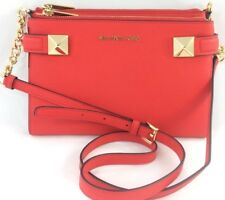 New Authentic Michael Kors Karla East West Crossbody Shoulder Bag in Orange Red