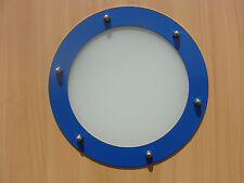 PORTHOLE FOR DOORS STAINLESS STEEL BLUE (RAL 5015) phi 323 mm flat