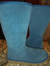 Womens Ugg Australia tall teal blue zippered suede boots size 12 exclnt condtn