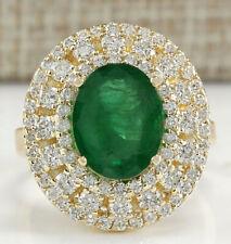 4.66 Carat Natural Emerald 14K Yellow Gold Diamond Ring
