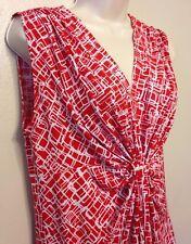 Women's Rafaella Red White Sleeveless Pattern Gathers Size S Small Cami WS116