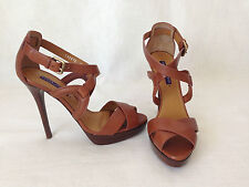 Ralph Lauren Collection Equestrian Brown Burnished Calf Leather Heel US 9. B