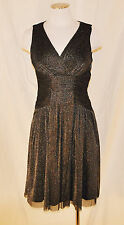NWT CHIC Maggy L Black Silver Metallic Empire Evening Cocktail Party Dress 6