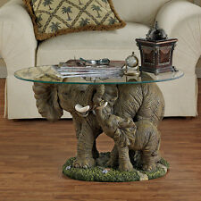 Mother and Calf African Elephant Oval Glass Top Side Occasional Cocktail Table
