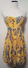Tibi Paisley Bubble Dress Yellow Strapless Silk Formal Prom Sz 8