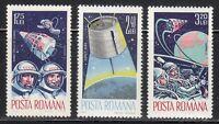 Romania 1965 MNH Sc 1764-1766 Mi 2427-2429 Voskhod 2 & Gemini 3 crews **