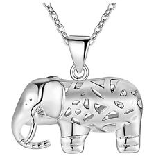 3D Puffed Elephant Animal Silver Crystal Rhinestone Pendant Necklace 18'' Chain