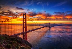 Iconic Golden Gate Bridge City Landscape Pictures Poster Wall Art Prints