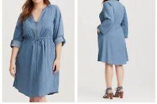078613fa71b Torrid Chambray Blue Zip Front Shirt Dress 2x 18 20  11307