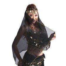 Belly Dance veil Handmade Head Scarf Shawl Headpiece Chiffon Coins Face Veil