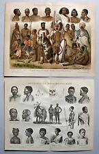 Afrika Völkerkunde und Kultur - 1890-1903 / Lot 4 Blatt / Lithographie