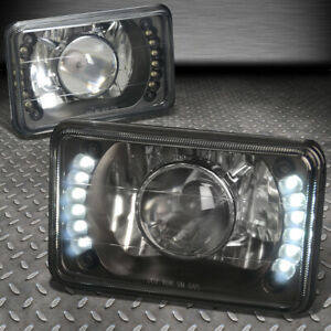 FOR DODGE/FORD/CHEVY/GMC 4X6 H4666 SQUARE BLACK PROJECTOR LED HEADLIGHT+H4 BULBS
