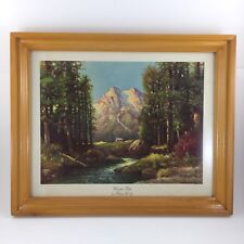 Robert Wood Art Lithograph Majestic Peaks Landscape Wood Framed Picture 15x12