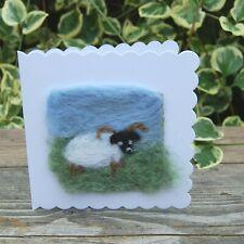 Handmade NeedleFelt Blank Greetings Card or To Frame Scottish Black Face sheep