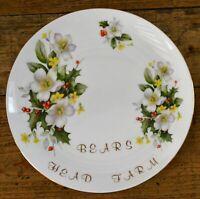 Vintage Bears Head Farm Christmas Plate 21cm Diameter