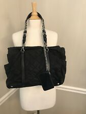 $1650 Prada Black Chain Strap Nylon Hand Bag Purse & Wristlet NR