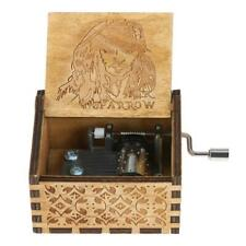 Wooden Music Box Antique Hand Crank Engraved Musical Toys Kid Xmas Birthday Gift