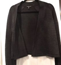 Eileen Fisher Wool/Metallic Cropped Jacket Cardigan Throw Shrug Gray Charcoal PL