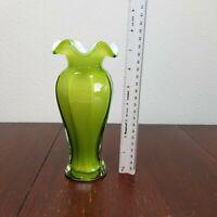 """FENTON ? Art Glass GREEN Cased 7.5"""" VASE ruffled edge"""