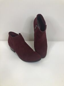 X-Appeal Women's Size 11 Plum Maroon Ankle Booties Shoes