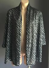 Great Condition Black & Silver Metallic NONI B Open Drape Cardi Jacket Size M 10