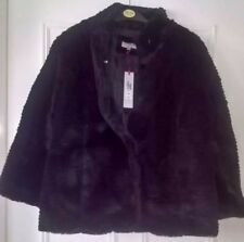 Per Una Faux Fur Jacket Large RRP £79 New with Tag Black M&S Pockets Cosy