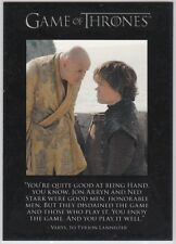 GAME OF THRONES SEASON 2 QUOTABLE INSERT CARD Q18 TYRION LANNISTER VARYS