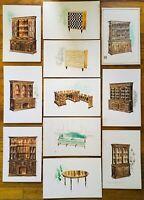 c1940s Original Mid Century Furniture Designer Collection Paintings Signed RK