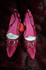 New 7 Satin Open Work Pointed Slingback Heels Shoes Dark Cerise-Maroon mix Gift