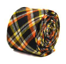 Frederick Thomas bleu marine jaune et orange à carreaux 100% coton cravate