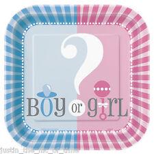"GENDER REVEAL Unisex Boy Girl Pink & Blue Tableware 7"" PAPER PLATES x10"