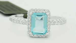 GEMSTONE 0.78 Cts AQUAMARINE & WHITE SAPPHIRES RING .925 Silver NWT Size 6