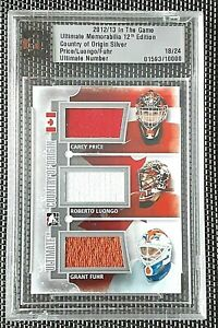 2012-13 ITG ULTIMATE - CAREY PRICE - GRANT FUHR - ROBERTO LUONGO - GAME JERSEY