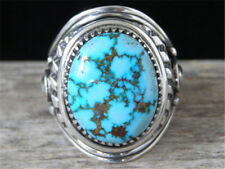 Vintage 925 Silver Natural Turquoise Birthstone Bridal Ring Wedding Jewelry SZ 9