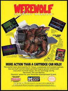 WEREWOLF__Original 1991 print AD / Nintendo horror game promo__NES__Data East