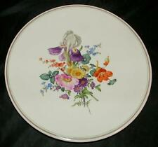MEISSEN Porcelain Hand Painted Floral WALL CHARGER PLATE Flowers crossed Swords