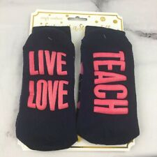 Simply Southern Live Love Teach Navy And Pink Argyle Non slip Socks